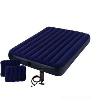 Надувной матрас Intex 64765, с двумя подушками, ручным насосом. Двухместный