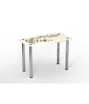 Стеклянный стол Ванильный Зефир